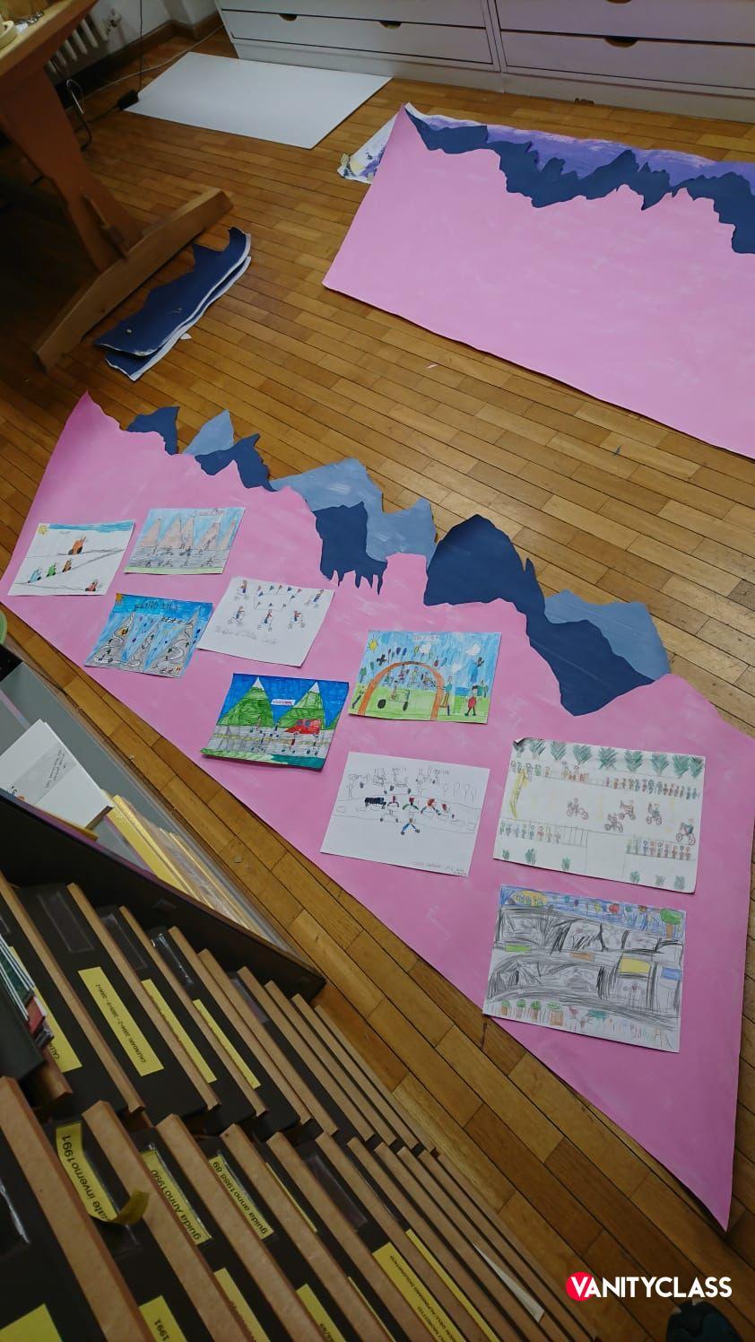 Il Giro d'Italia disegnato dai bambini di Cortina.