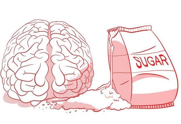 cervello e un sacchetto di zucchero. Bevande zuccherate e gassate
