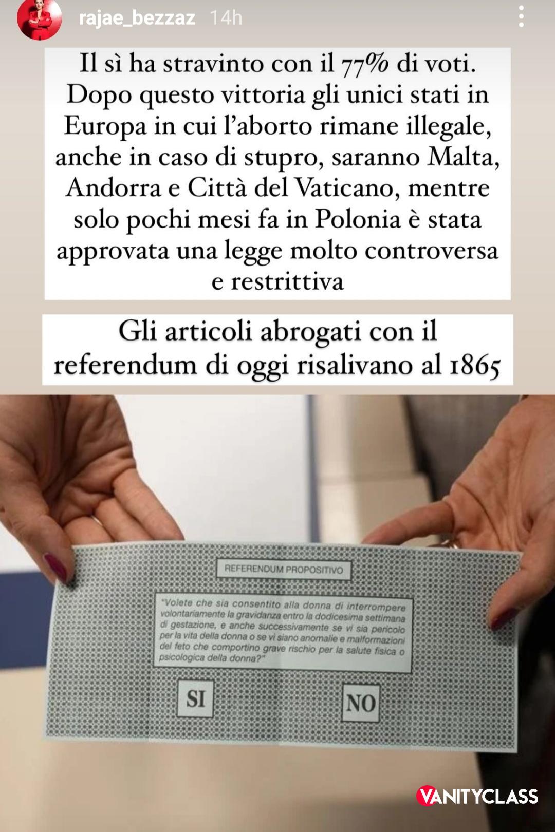 """Rajae Bezzaz: """"Questa notte a San Marino ha vinto il Sì per il referendum sull'aborto"""""""